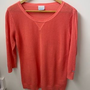 Columbia knit orange sweater loose fit pullover